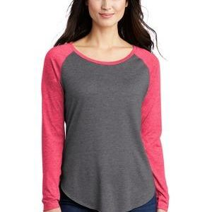 ® Ladies PosiCharge ® Long Sleeve Tri Blend Wicking Scoop Neck Raglan Tee Thumbnail