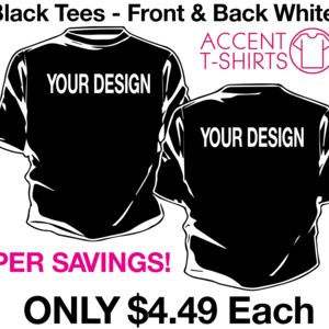 48 Qty $4.49 each TShirt Sale -front and back white ink s-xl Thumbnail